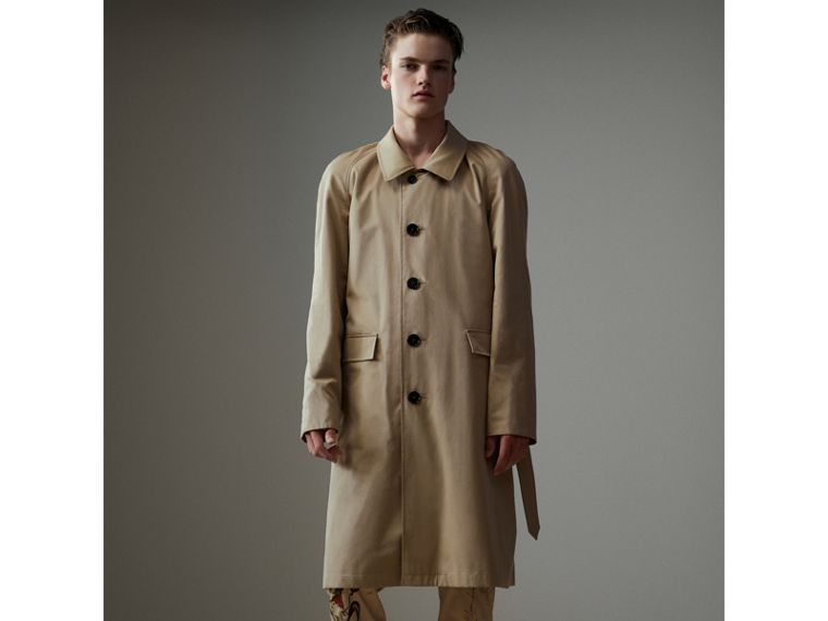 Reversible Vintage Check Gabardine Car Coat in Antique Yellow - Men | Burberry United States - cell image 4