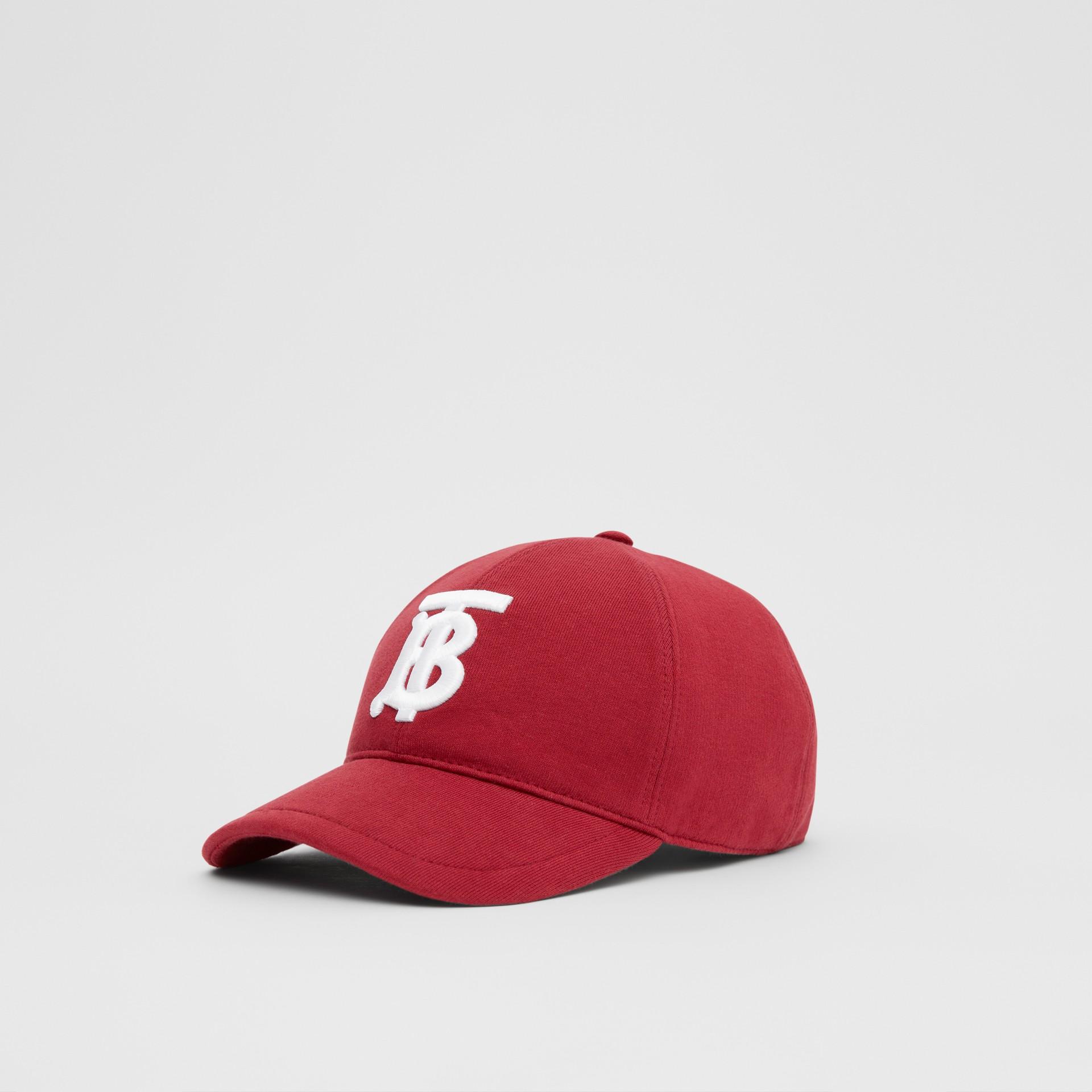 Monogram Motif Jersey Baseball Cap in Dark Carmine | Burberry United Kingdom - gallery image 5