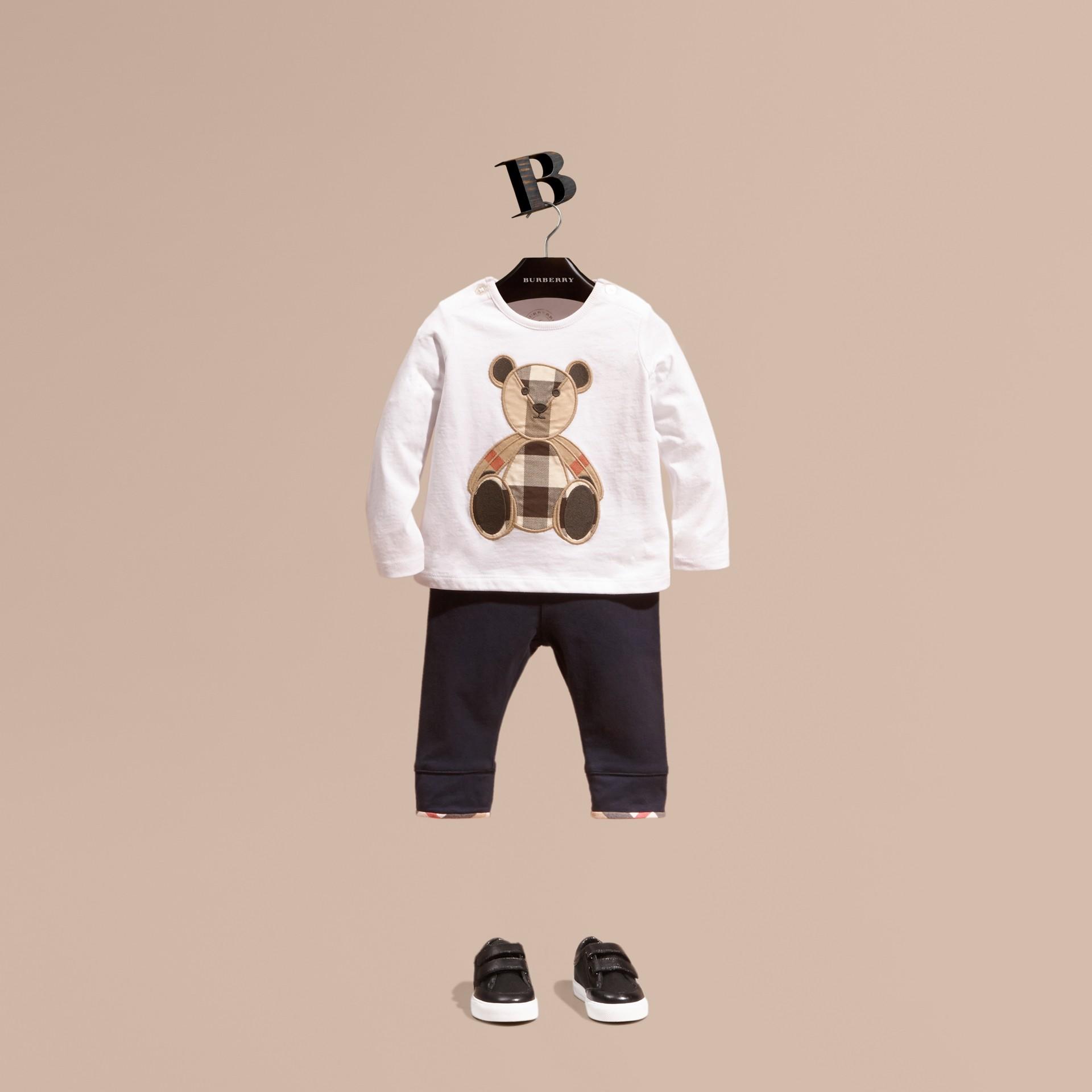 Blanc T-shirt en coton à manches longues avec motif Teddy-bear - photo de la galerie 1