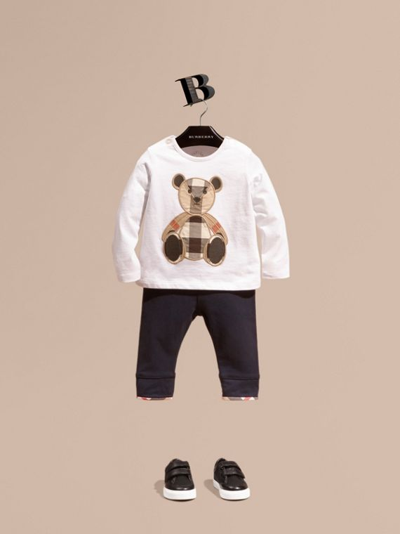 Long-sleeved Teddy Bear Motif Cotton T-shirt