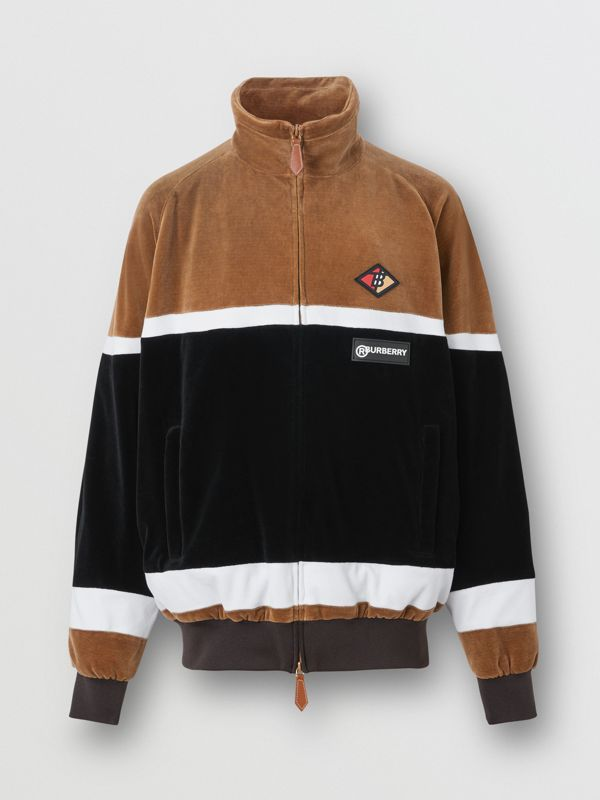 Logo Graphic Striped Chenille Track Top in Dark Walnut - Men | Burberry - cell image 3