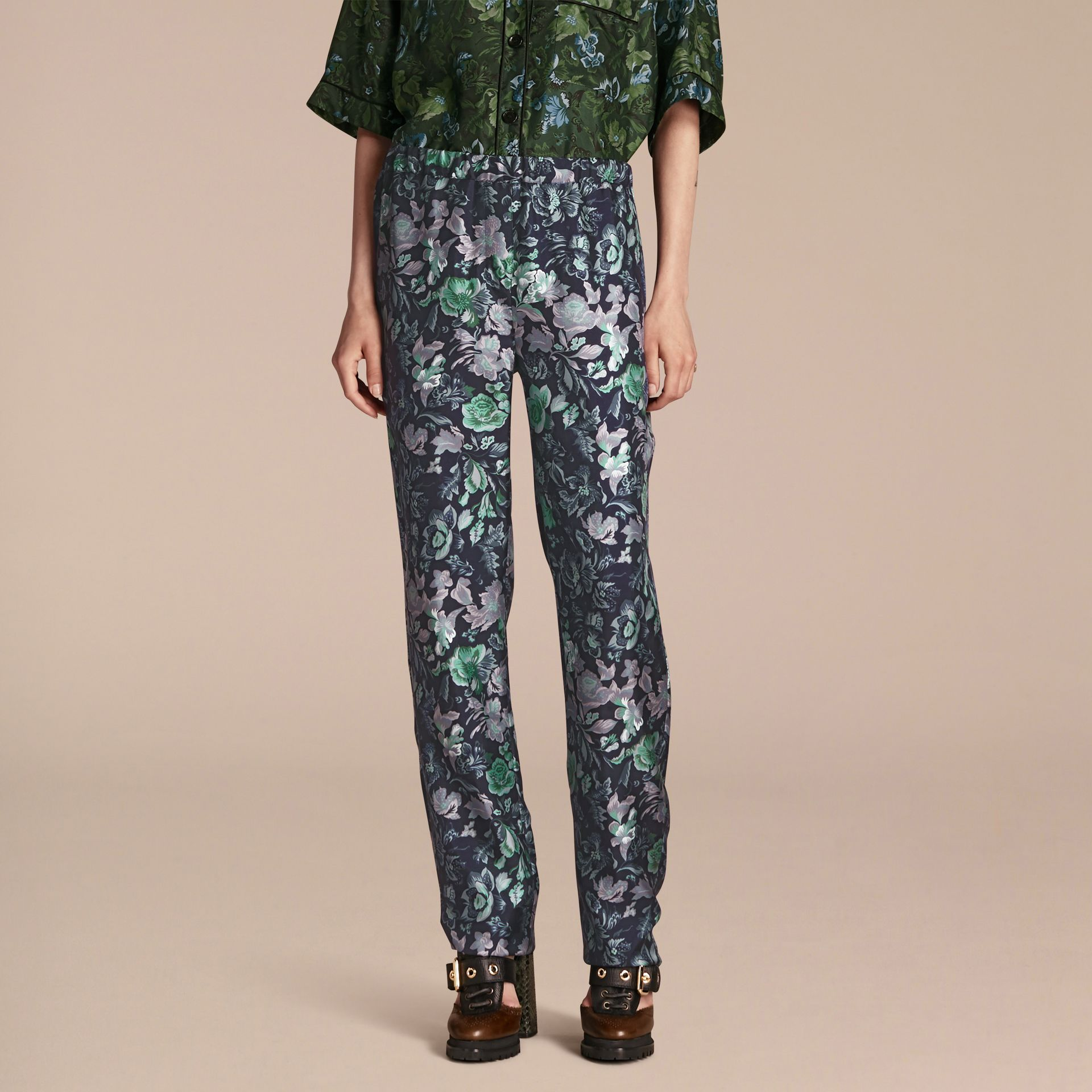 Navy Floral Print Silk Twill Pyjama-style Trousers - gallery image 1