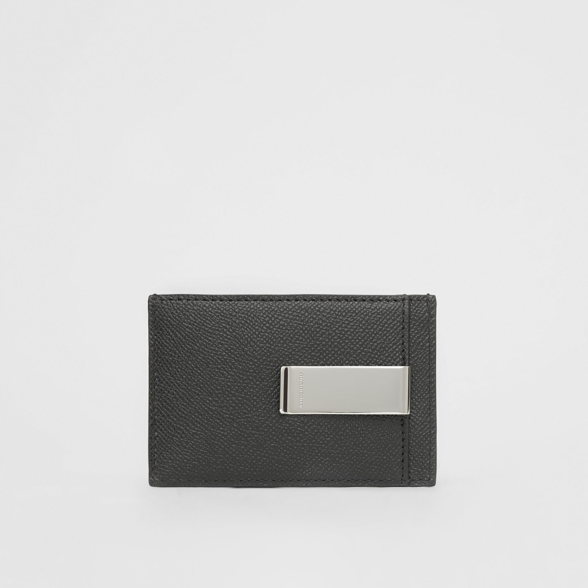 Grainy Leather Money Clip Card Case in Black - Men | Burberry - gallery image 4