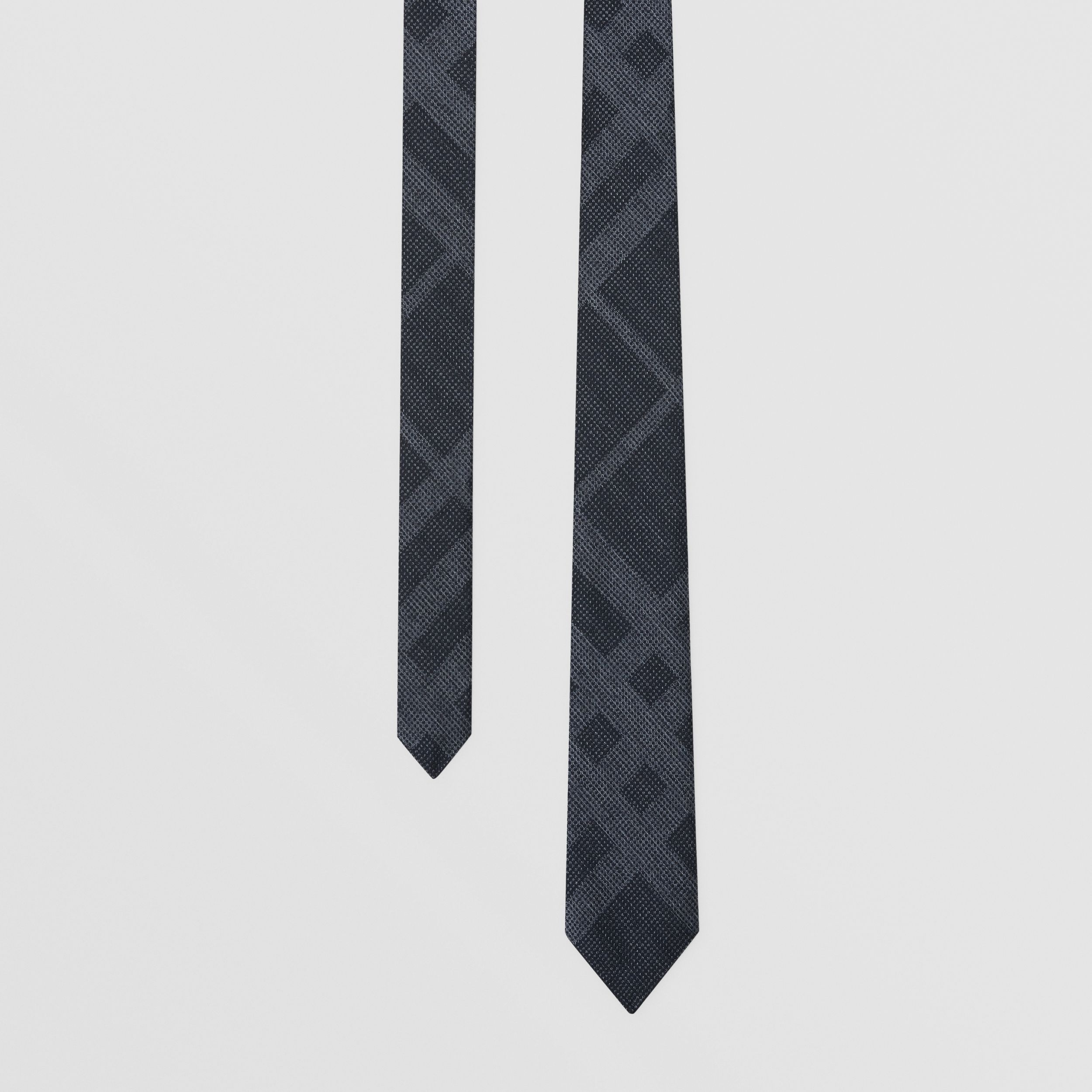Classic Cut Check Silk Tie in Navy Melange - Men | Burberry - 1