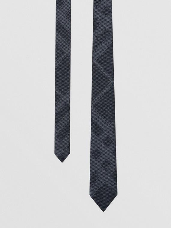 Gravata de seda com estampa xadrez e corte clássico (Azul Marinho Mesclado)