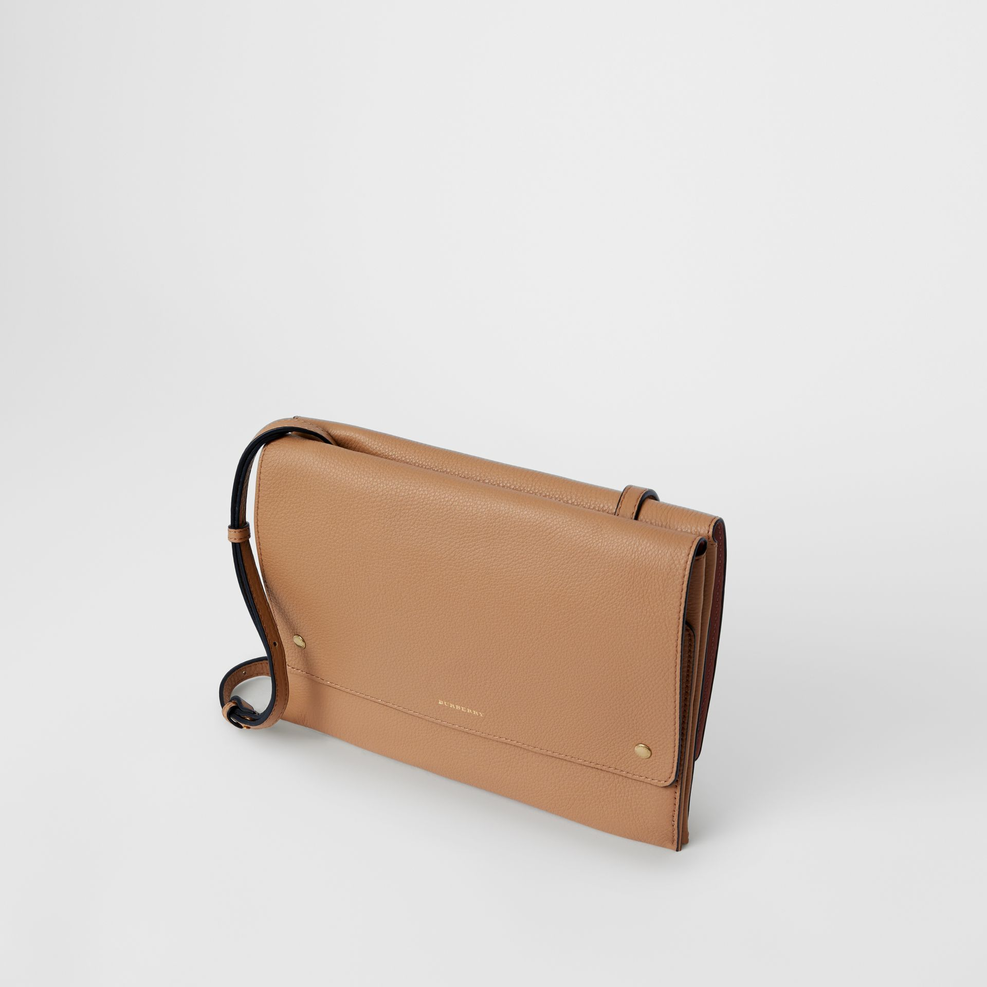 Leather Pouch with Detachable Strap in Light Camel - Women | Burberry United States - gallery image 4