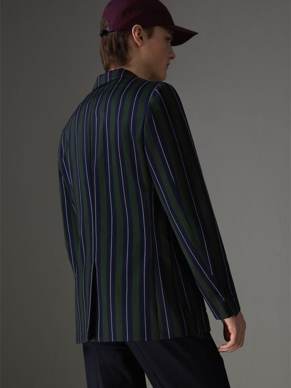 Archive Crest Striped Wool Cotton Tailored Jacket in Dark Forest Green - Men | Burberry - cell image 2