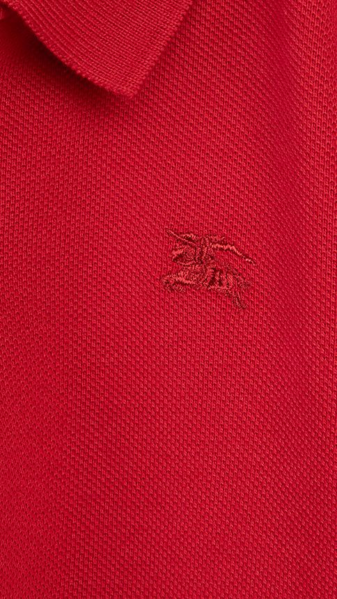 Military red Check Placket Polo Shirt Military Red - Image 3