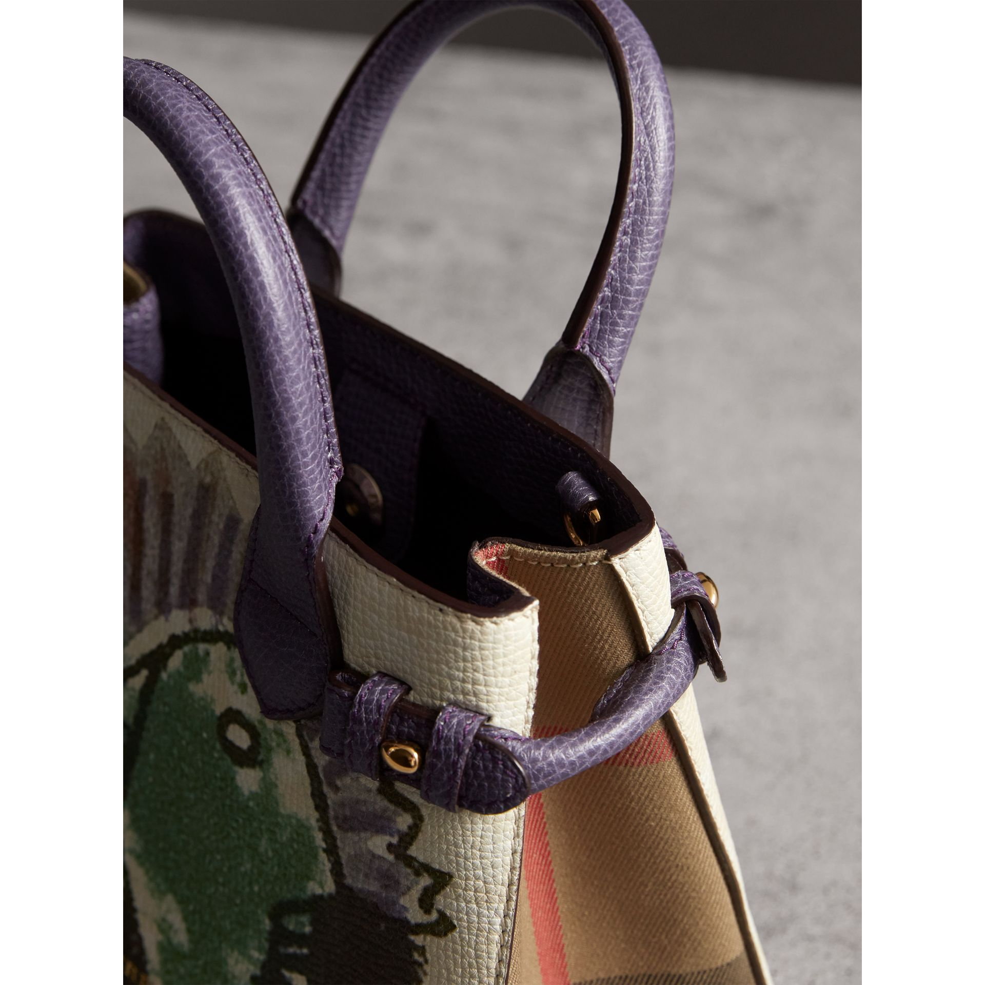 The Baby Banner in Leather with Pallas Heads Print in Dusty Violet - Women | Burberry Australia - gallery image 6