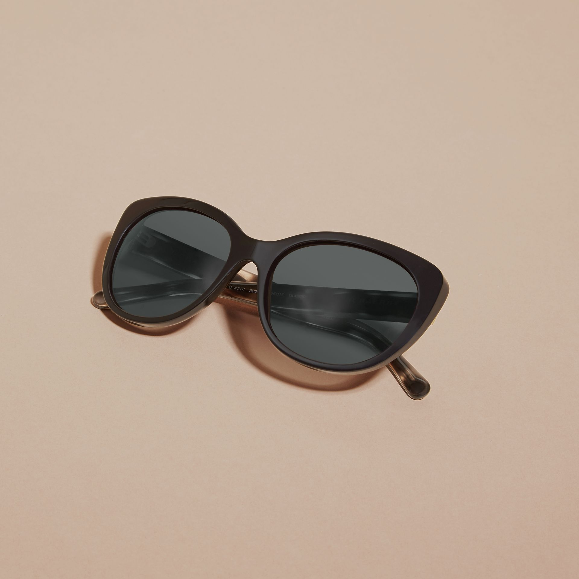 Black Gabardine Collection Oversize Round Frame Sunglasses - gallery image 5