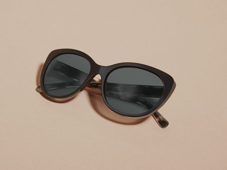 Black Gabardine Collection Oversize Round Frame Sunglasses - cell image 4