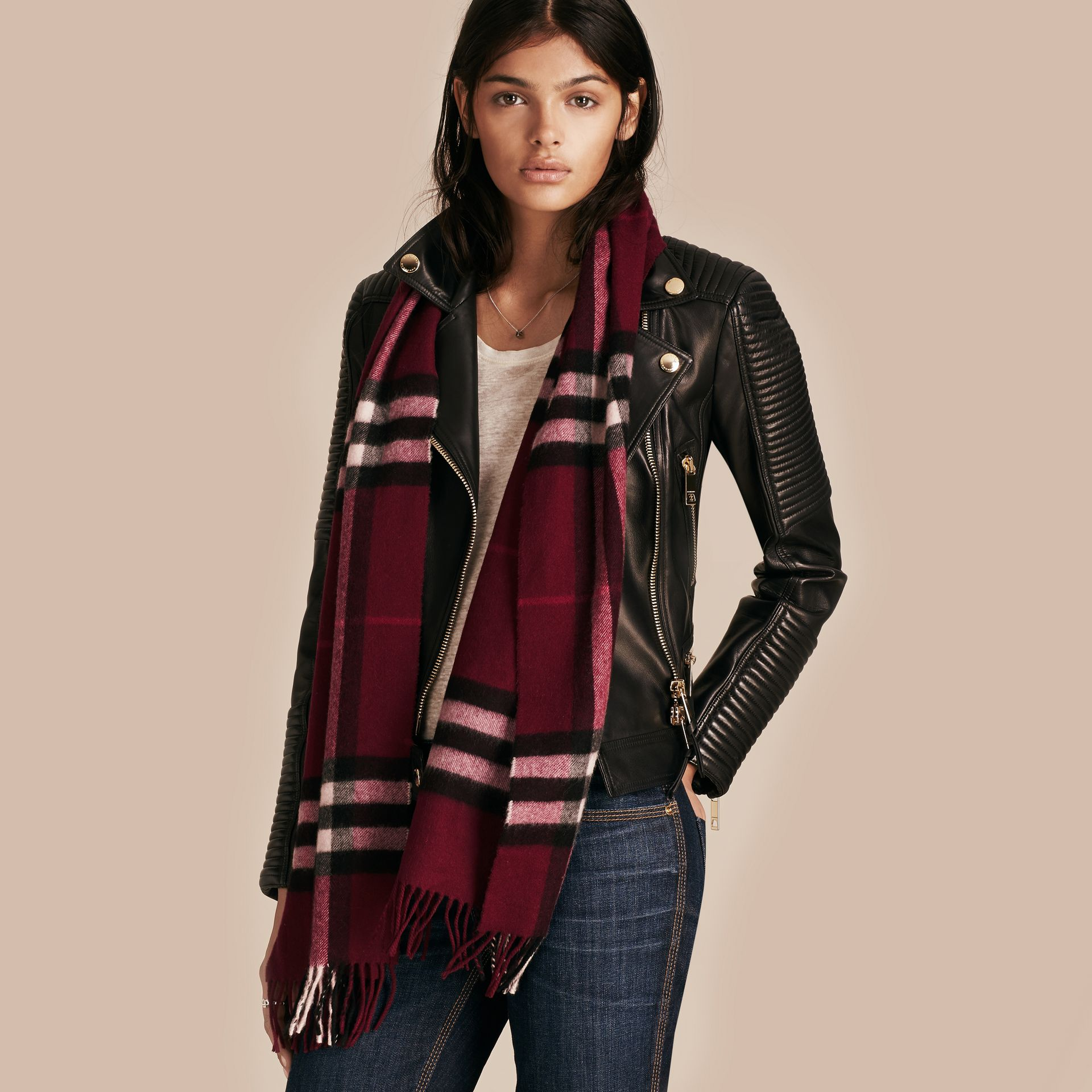 The Classic Check Cashmere Scarf in Plum | Burberry - gallery image 3