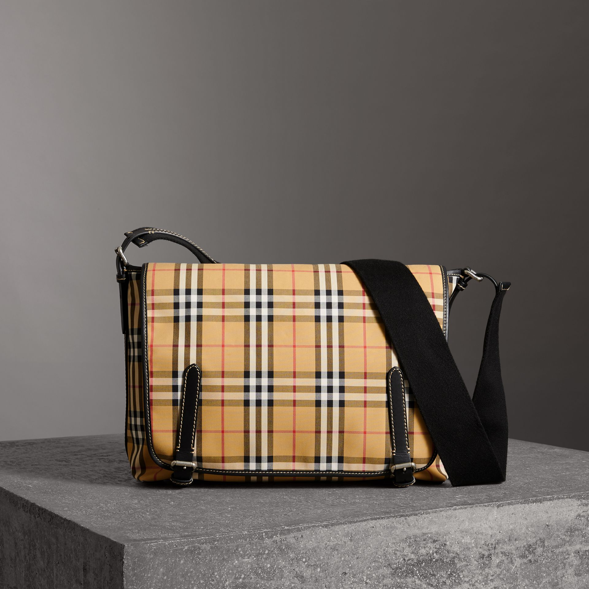 Large Leather Trim Vintage Check Messenger Bag in Antique Yellow/military Red - Men | Burberry - gallery image 0