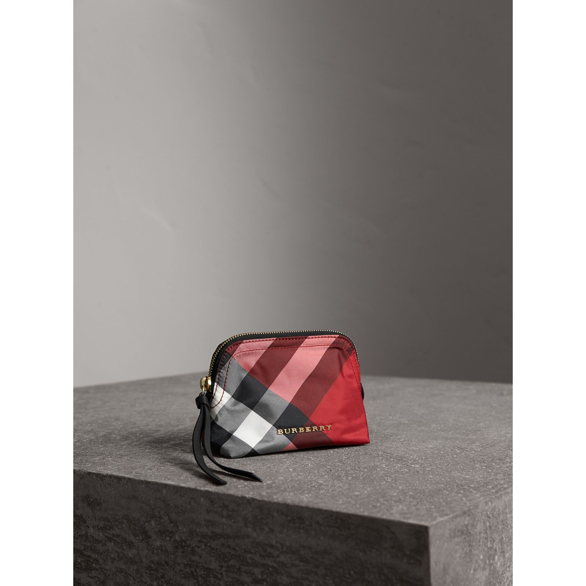 Small Zip-top Check Pouch in Parade Red - Women | Burberry Singapore - gallery image 5