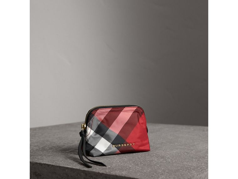 Small Zip-top Check Pouch in Parade Red - Women | Burberry Singapore - cell image 4