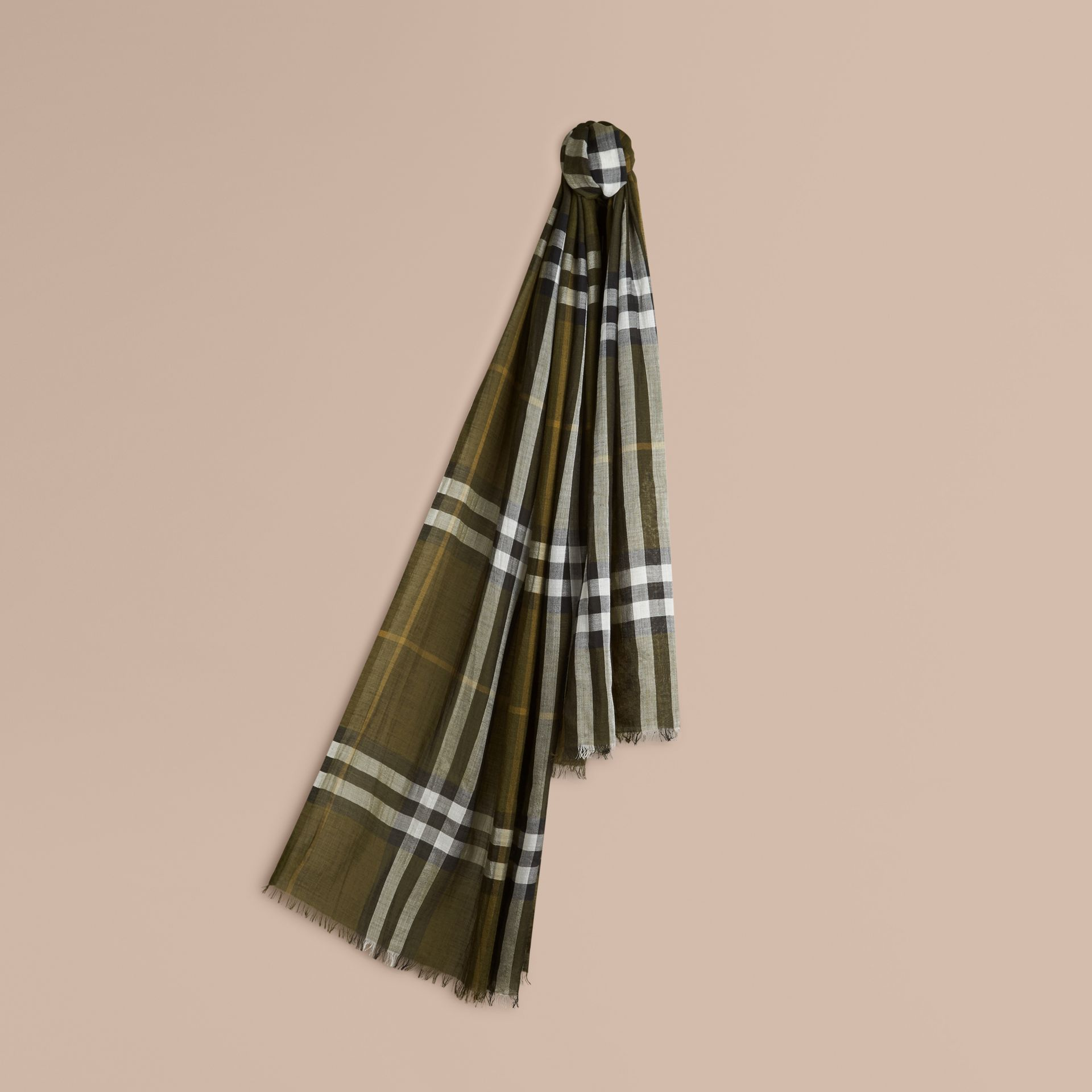 Olive green Lightweight Check Wool and Silk Scarf Olive Green - gallery image 1