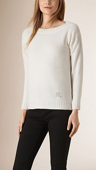 Rib Detail Cashmere Cotton Sweater