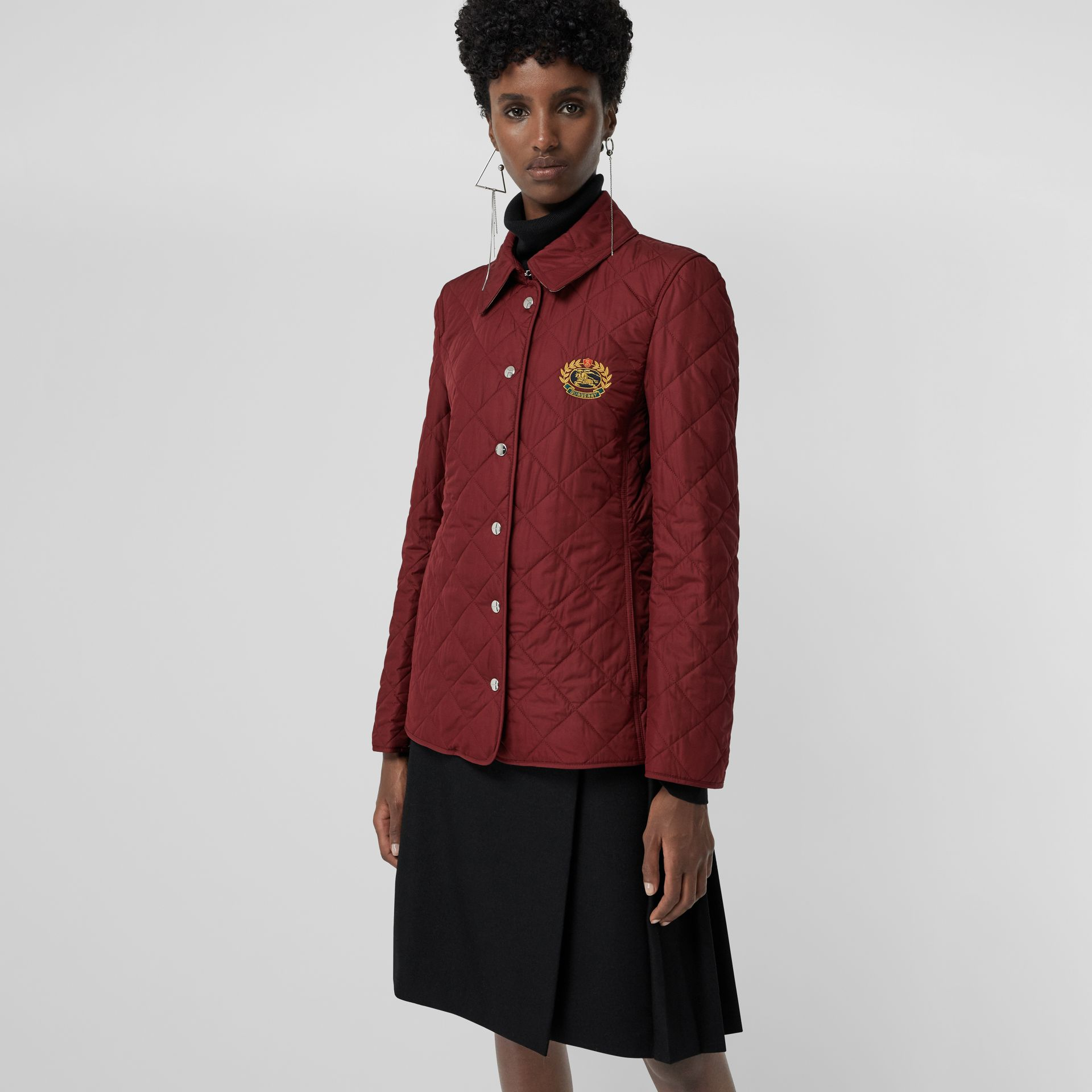 Embroidered Crest Diamond Quilted Jacket in Damson - Women | Burberry Australia - gallery image 5
