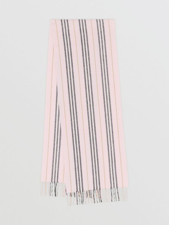 Icon Stripe Cashmere Scarf in Alabaster