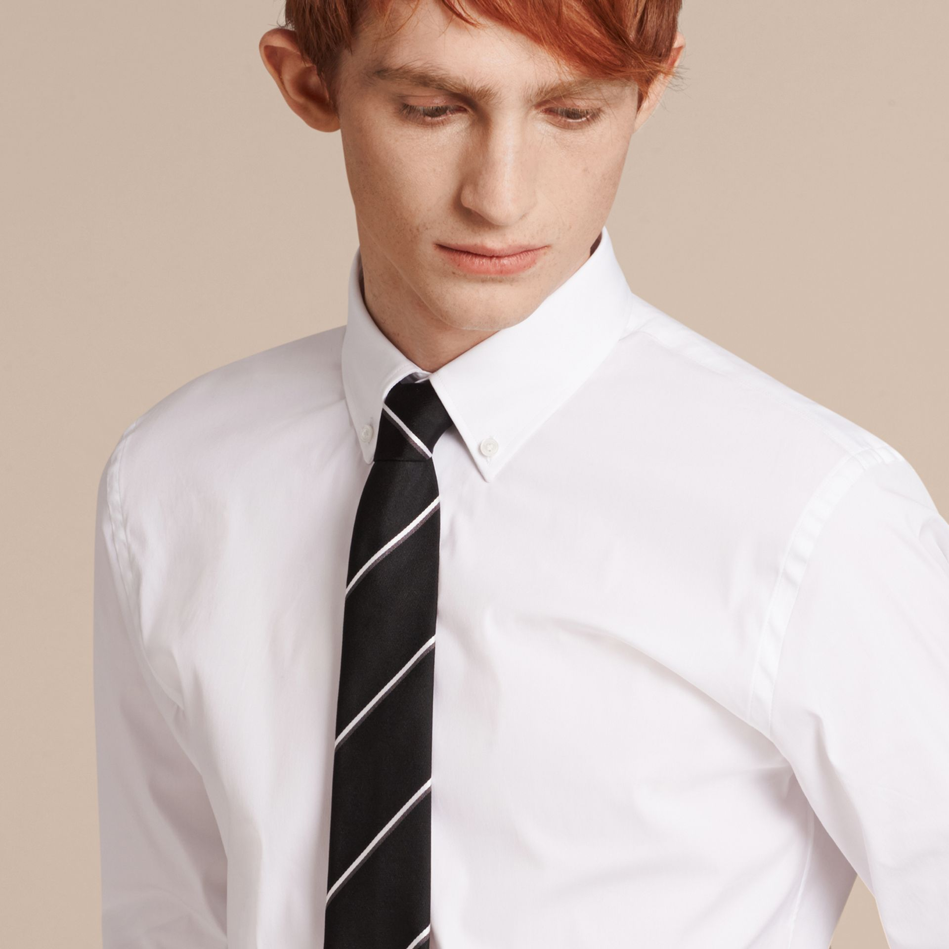 Slim Fit Button-down Collar Stretch-cotton Shirt in White - Men | Burberry - gallery image 5