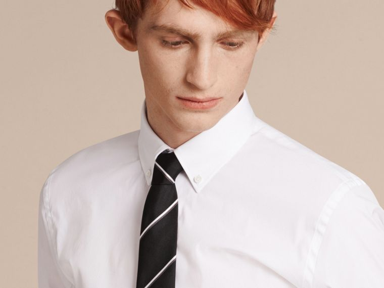 Slim Fit Button-down Collar Stretch-cotton Shirt in White - Men | Burberry - cell image 4