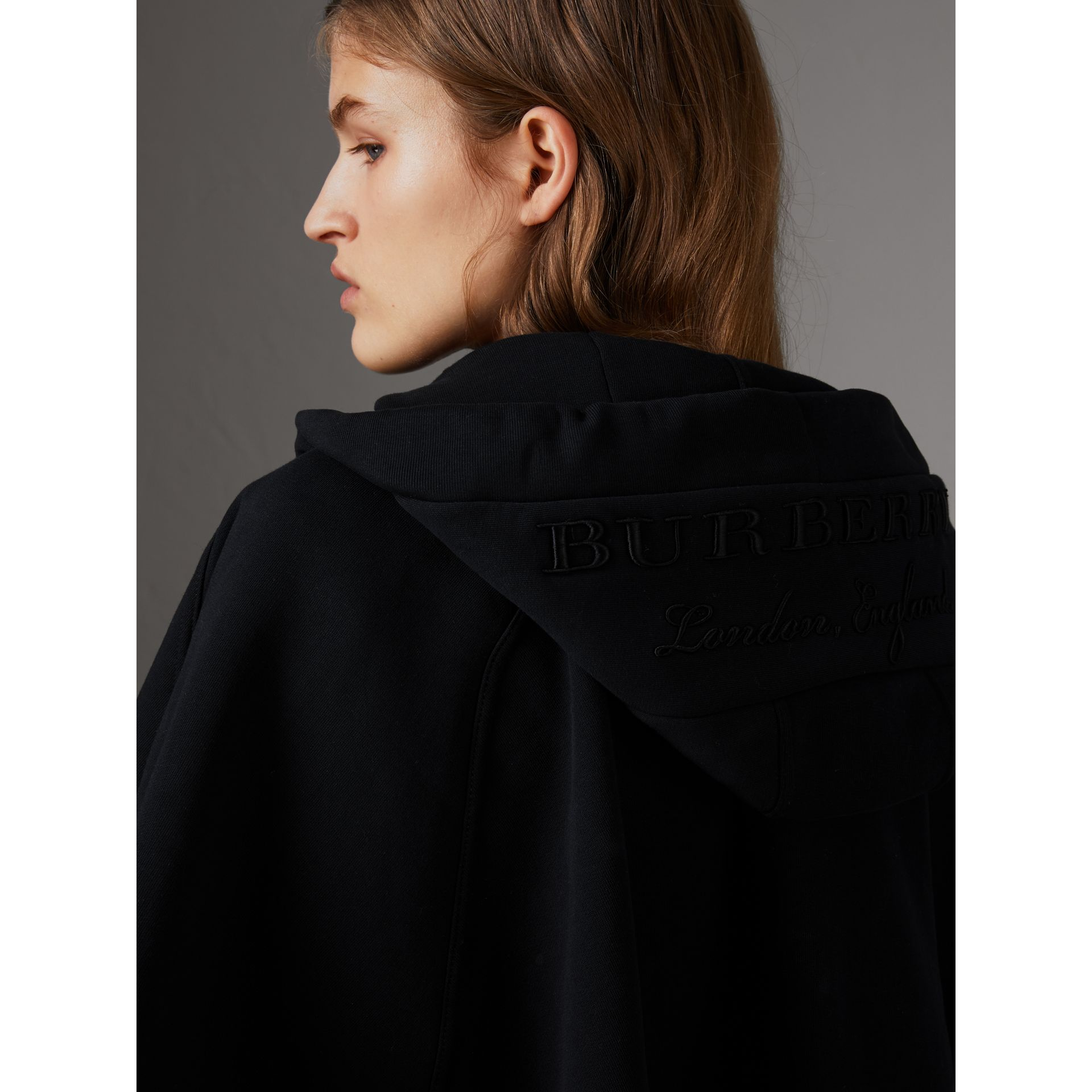Embroidered Jersey Hooded Cape in Black | Burberry Australia - gallery image 2