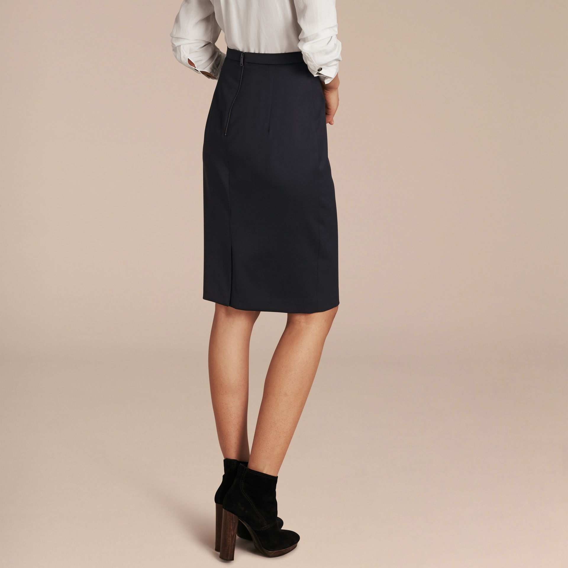 Stretch Virgin Wool Tailored Pencil Skirt - gallery image 3