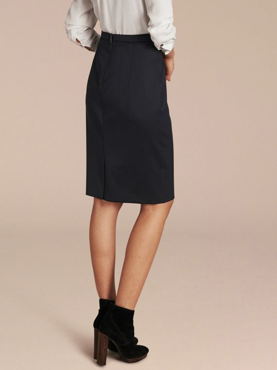 Stretch Virgin Wool Tailored Pencil Skirt Ink - cell image 2