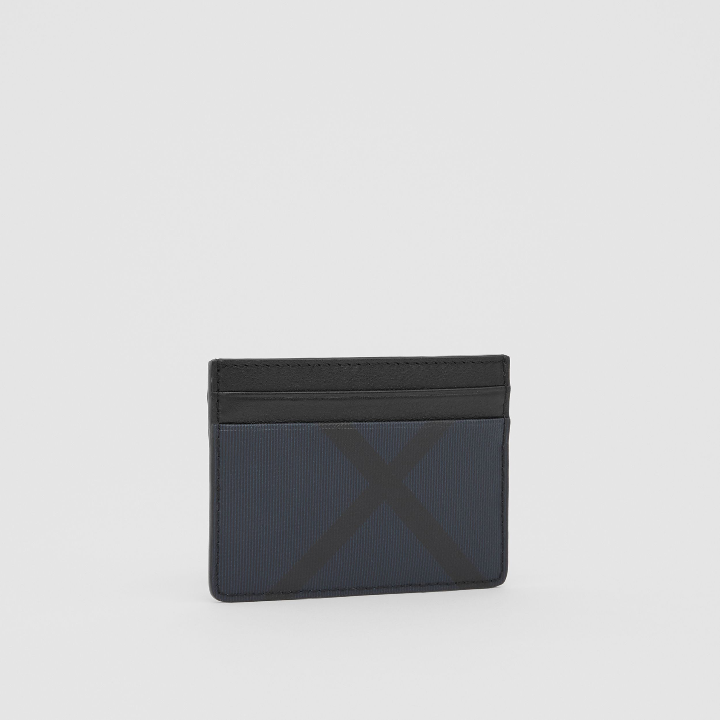 London Check and Leather Card Case in Navy - Men | Burberry - 4