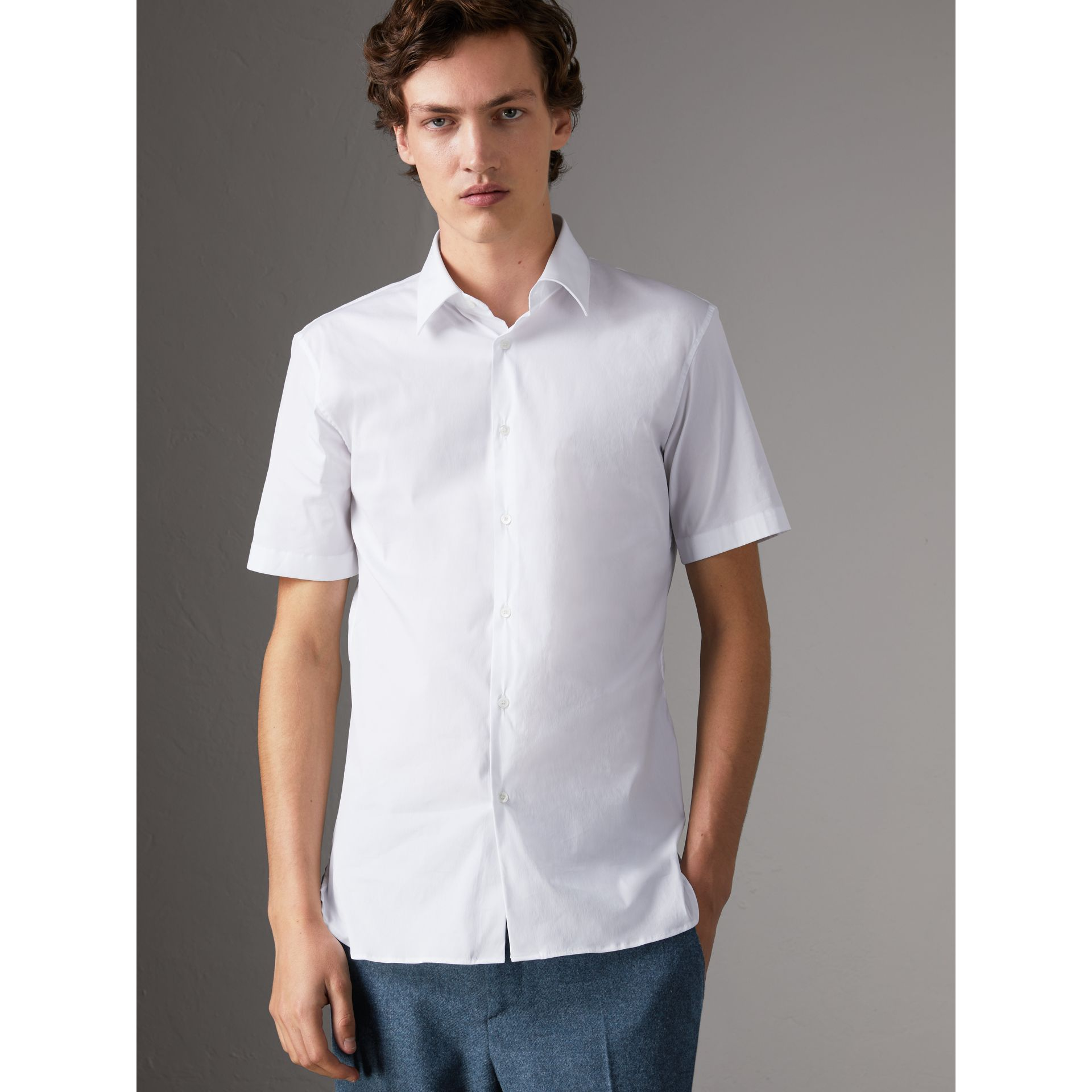 Slim Fit Short-sleeved Stretch Cotton Shirt in White - Men | Burberry - gallery image 6