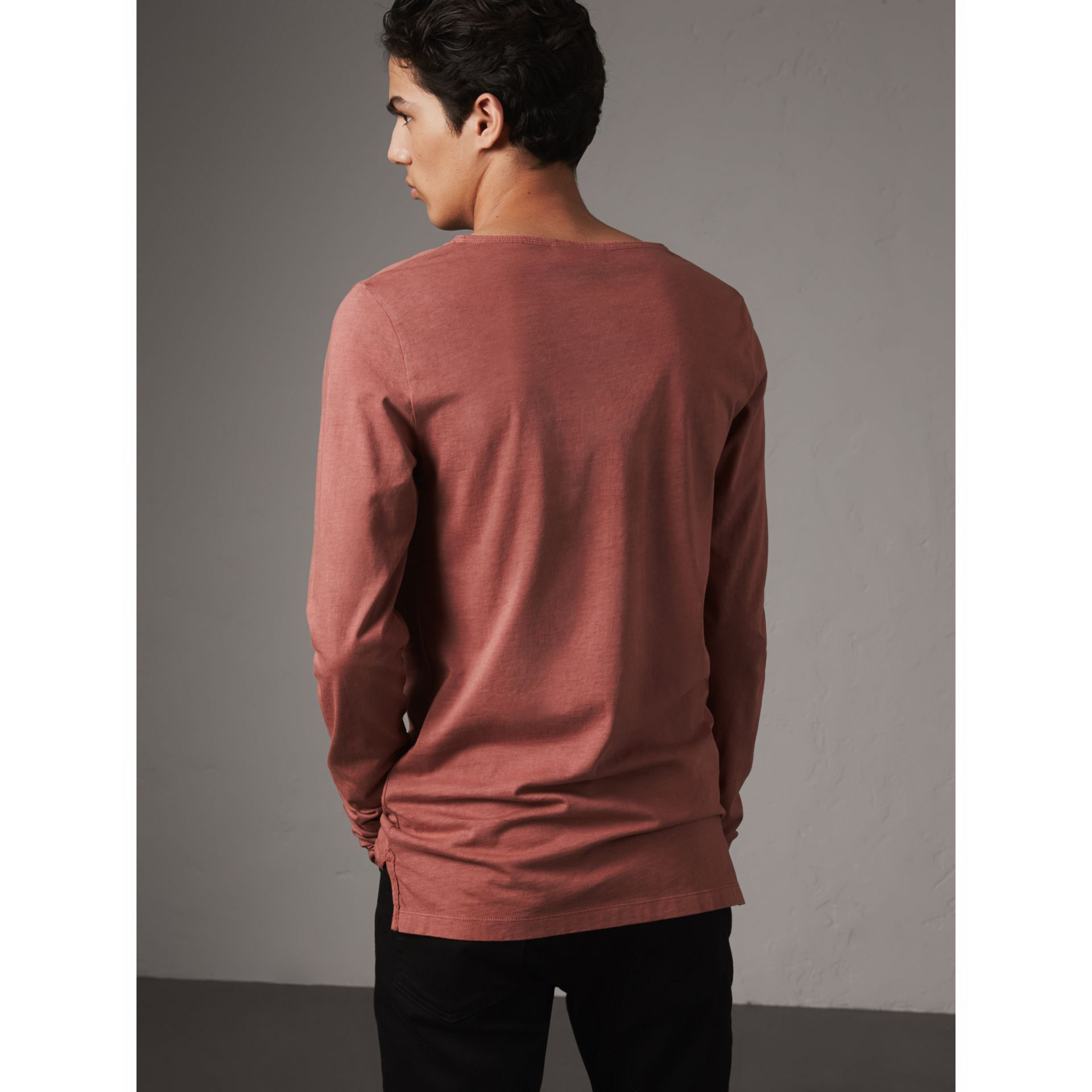 Long-sleeve Embroidered Cotton Top in Rosewood - Men | Burberry - gallery image 2