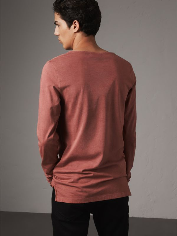 Long-sleeve Embroidered Cotton Top in Rosewood - Men | Burberry Singapore - cell image 2