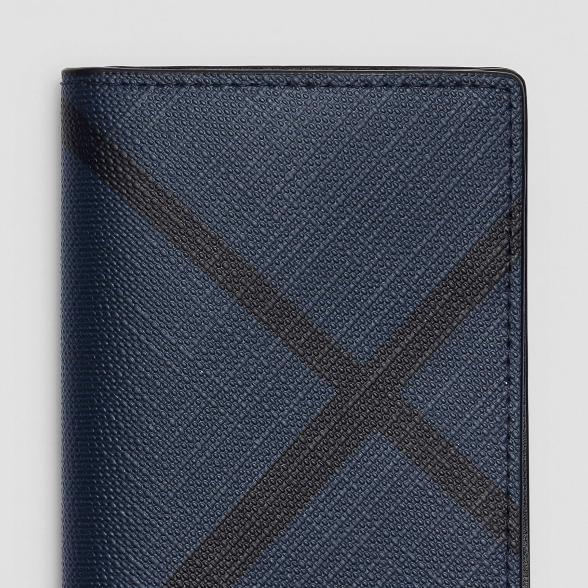 London Check and Leather Folding Card Case in Navy/black - Men | Burberry - gallery image 1