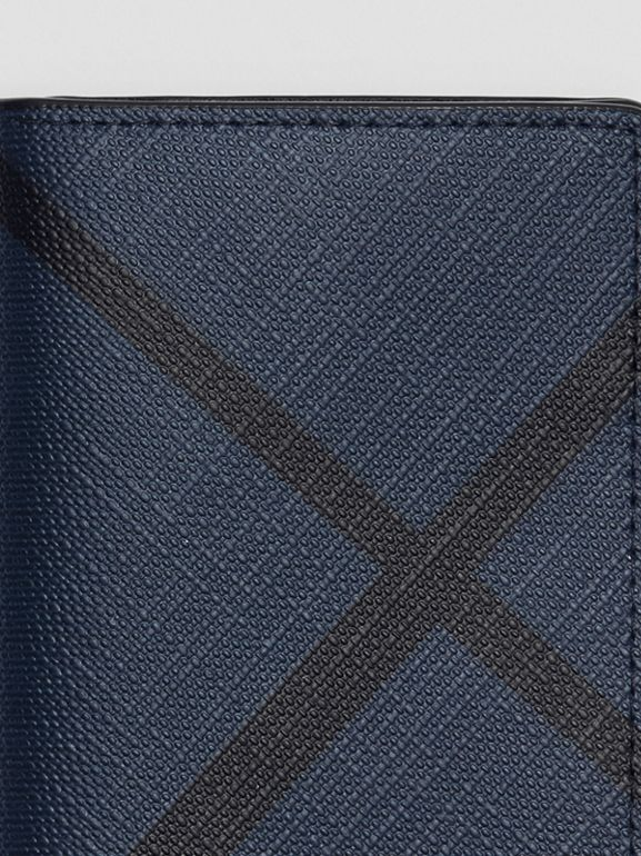 London Check and Leather Folding Card Case in Navy/black - Men | Burberry - cell image 1