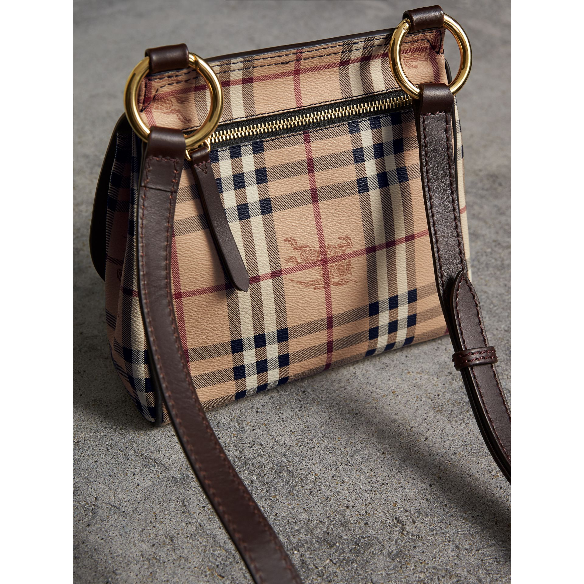 The Bridle Crossbody Bag in Haymarket Check in Dark Clove Brown - Women | Burberry United Kingdom - gallery image 4