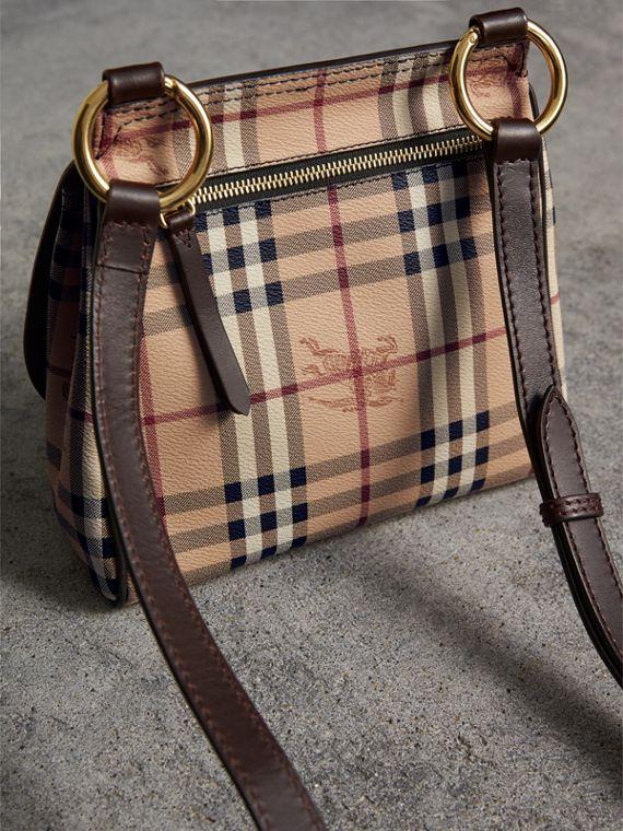 The Bridle Crossbody Bag in Haymarket Check in Dark Clove Brown - Women | Burberry United Kingdom - cell image 3