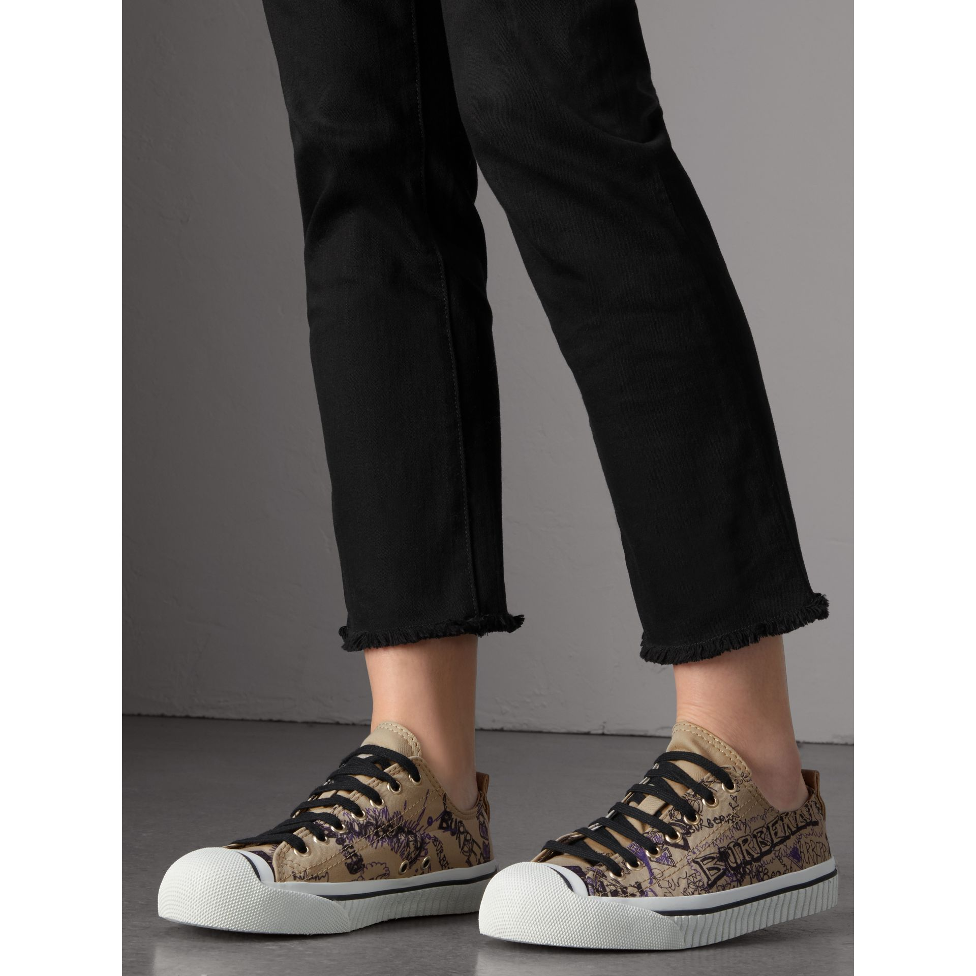 Doodle Print Cotton Gabardine Trainers in Honey - Women | Burberry - gallery image 3