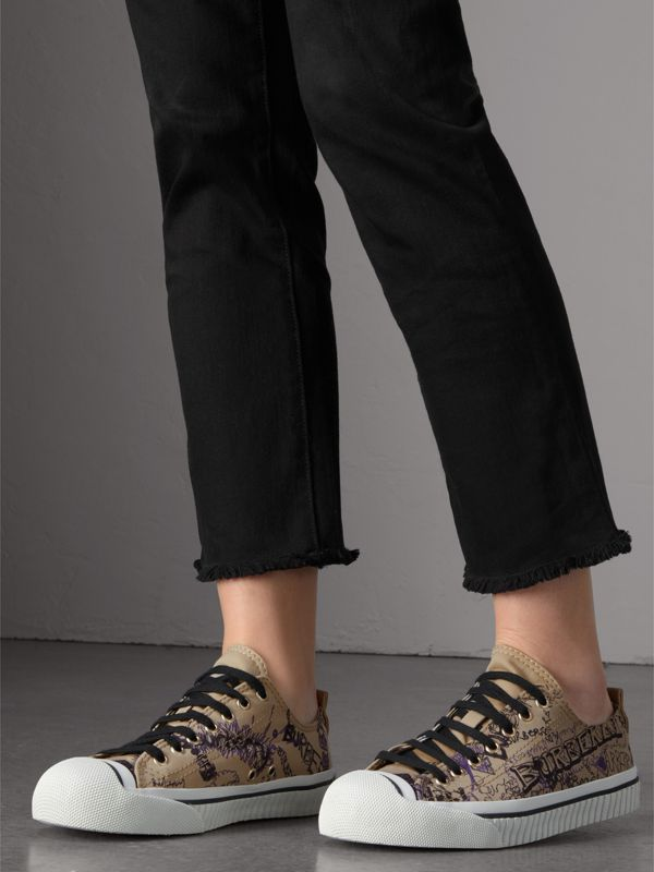 Doodle Print Cotton Gabardine Sneakers in Honey - Women | Burberry - cell image 2