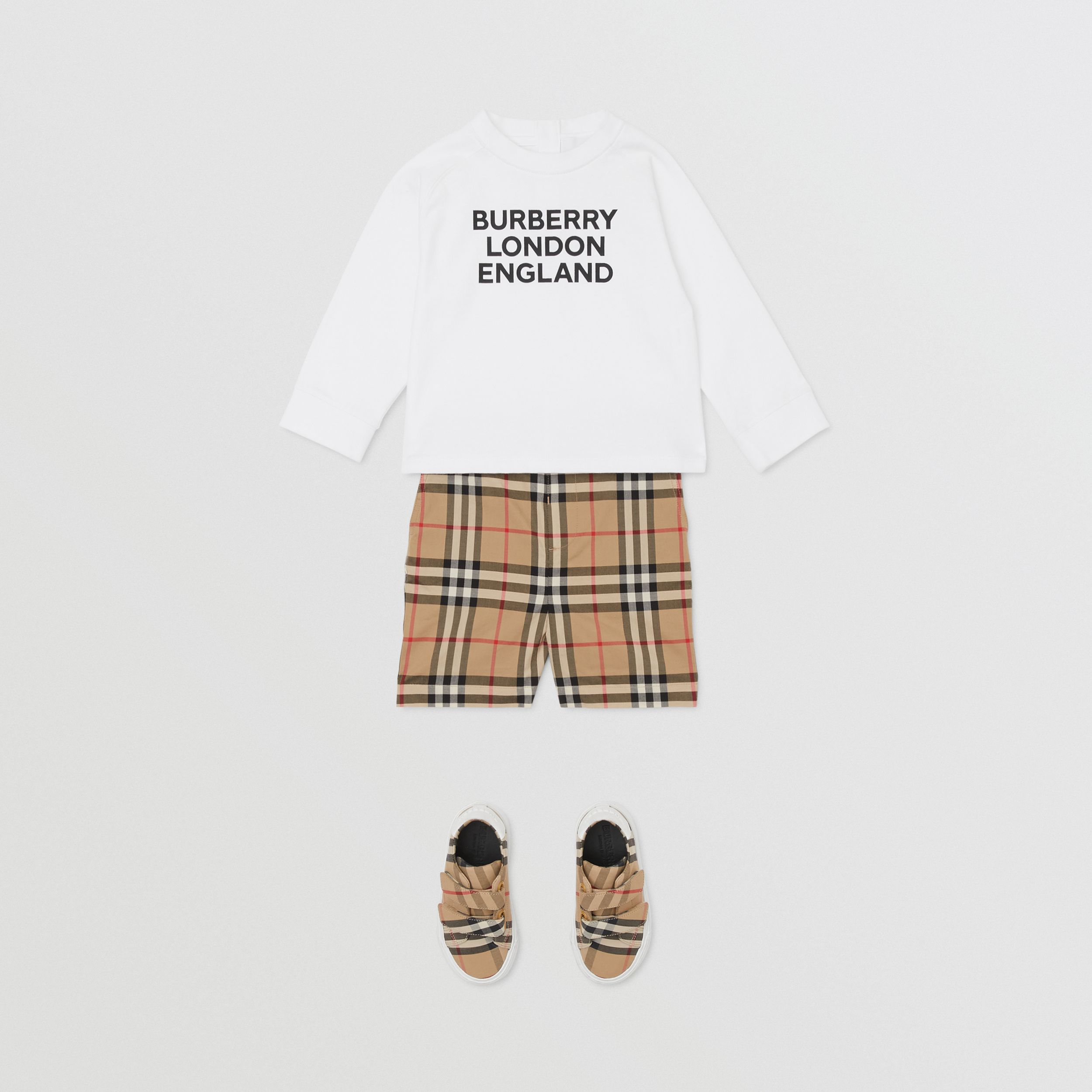 Long-sleeve Logo Print Cotton Top in White - Children | Burberry Australia - 4