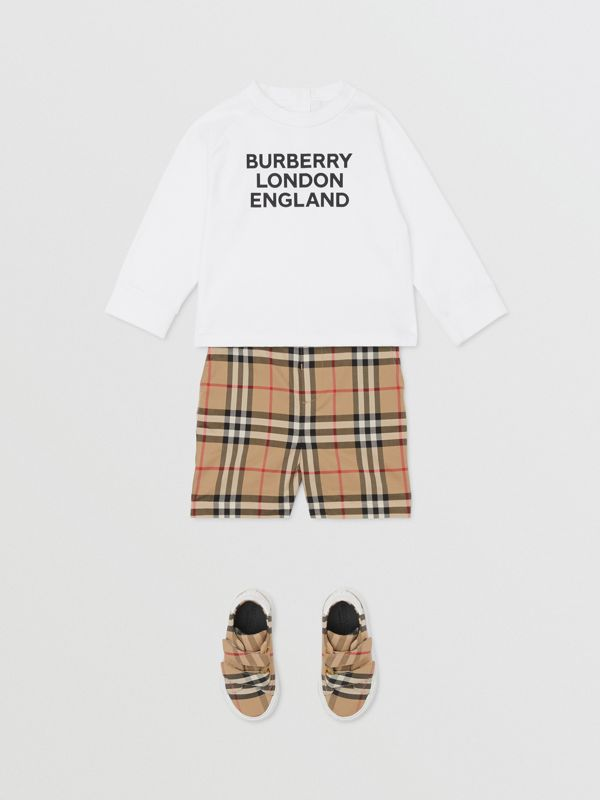 Long-sleeve Logo Print Cotton Top in White - Children | Burberry United Kingdom - cell image 3