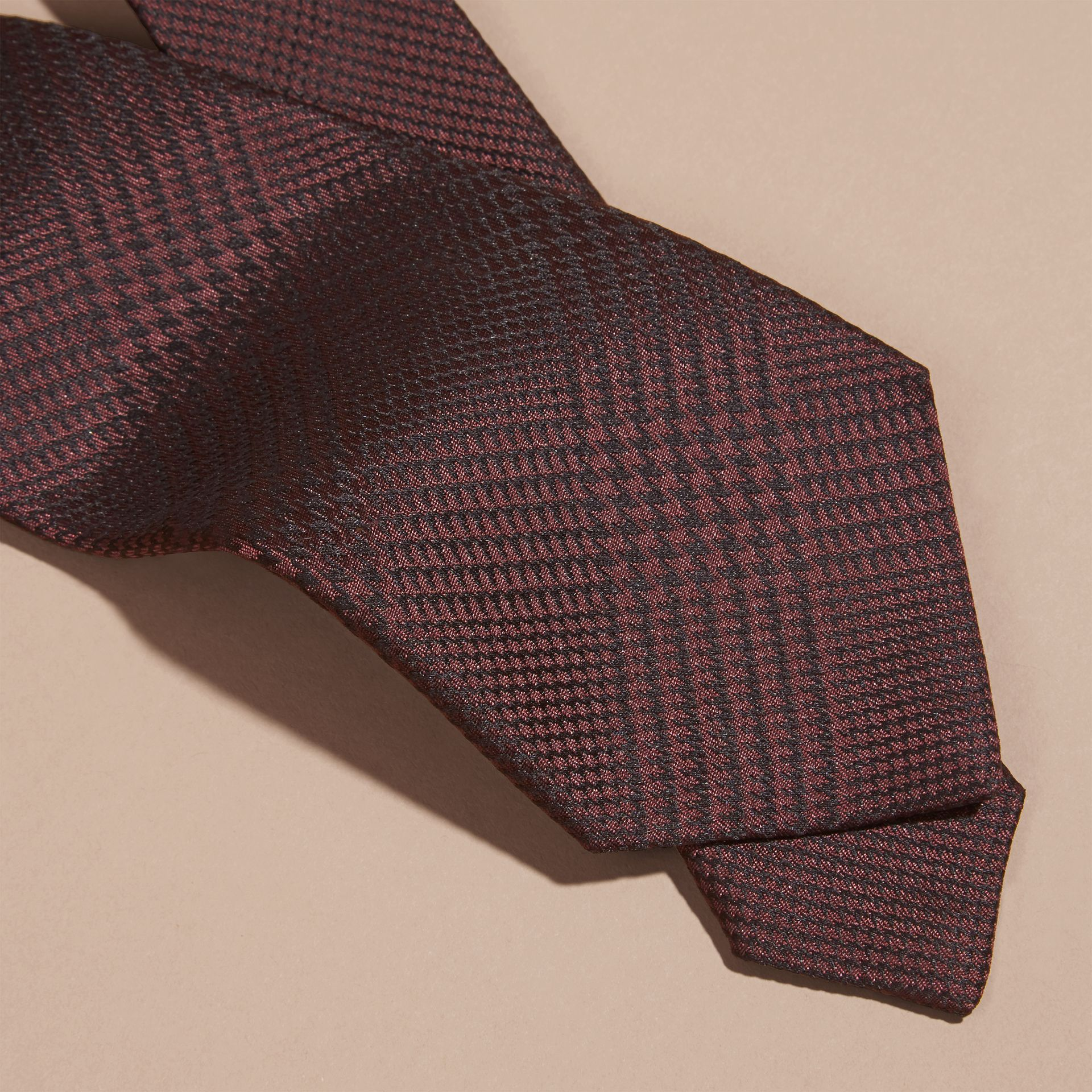 Modern Cut Check Silk Tie Deep Claret - gallery image 2