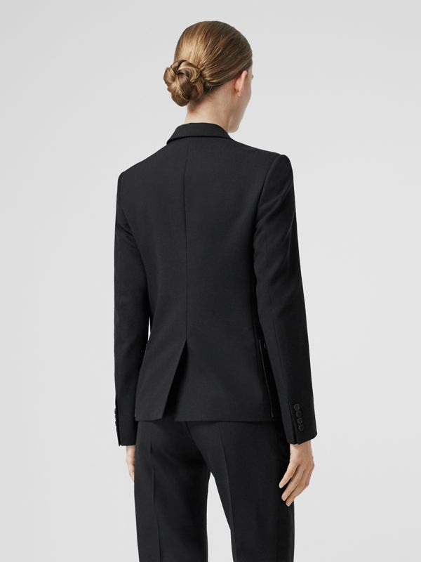 Leather Detail Wool Tailored Jacket in Black - Women | Burberry Canada - cell image 2