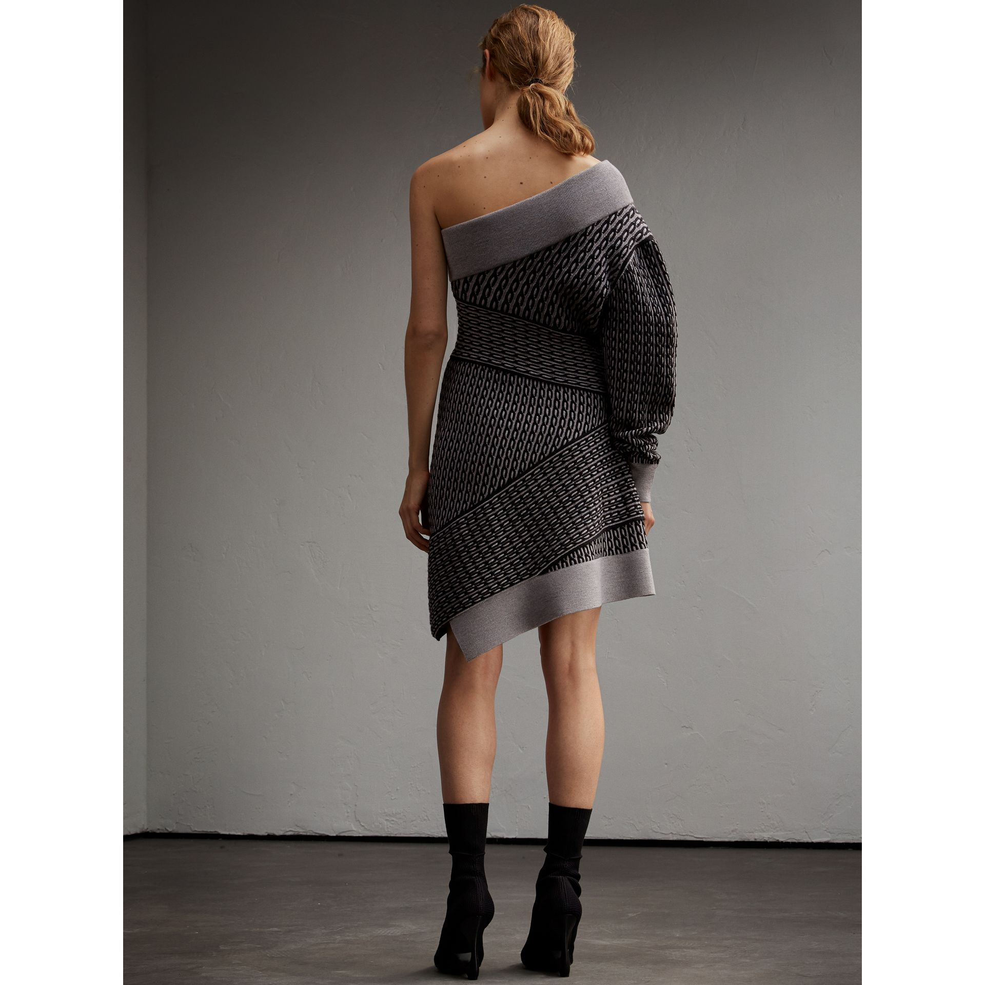 One-shoulder Cable Knit Wool Blend Dress in Grey Melange/black - Women | Burberry - gallery image 3
