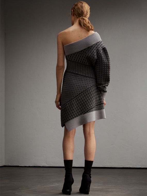 One-shoulder Cable Knit Wool Blend Dress in Grey Melange/black - Women | Burberry - cell image 2