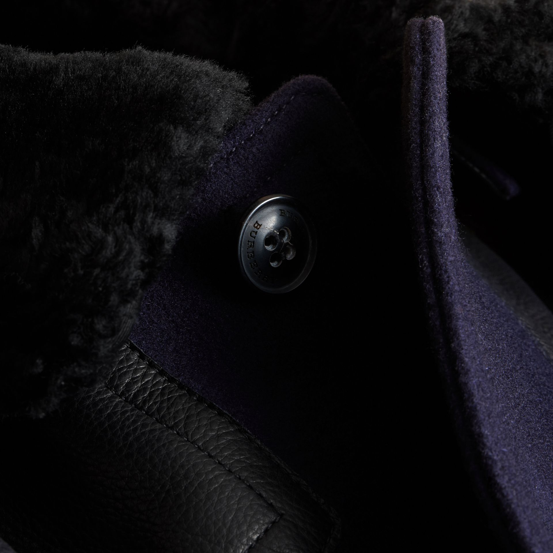 Pea Coat with Detachable Shearling Topcollar - gallery image 2