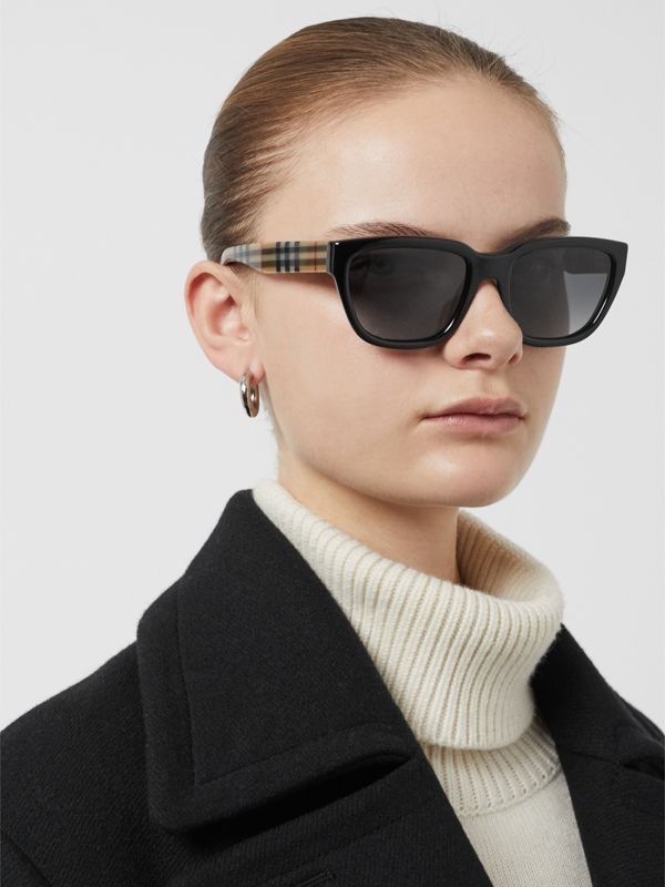 Vintage Check Detail Square Frame Sunglasses in Antique Yellow - Women | Burberry Singapore - cell image 2