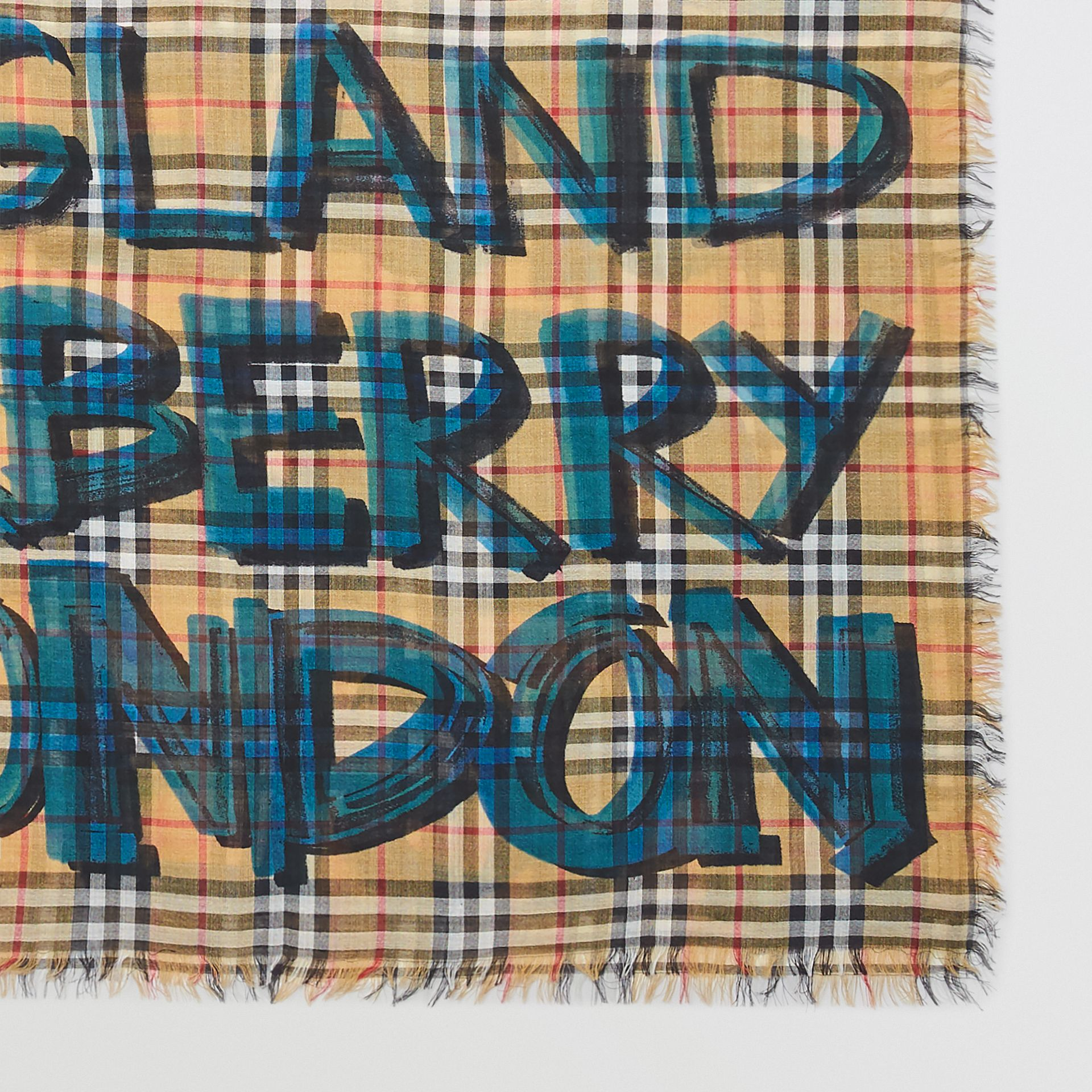 Graffiti Print Check Wool Silk Large Square Scarf in Brilliant Blue | Burberry - gallery image 1