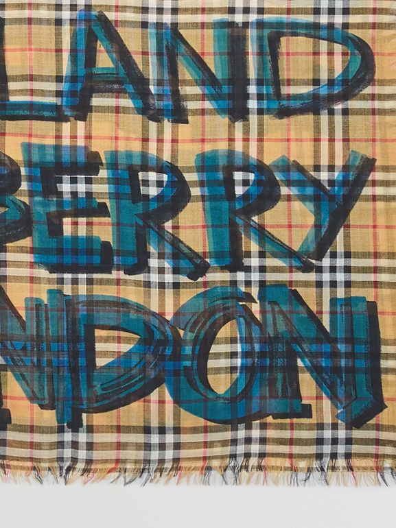 Graffiti Print Check Wool Silk Large Square Scarf in Brilliant Blue | Burberry - cell image 1