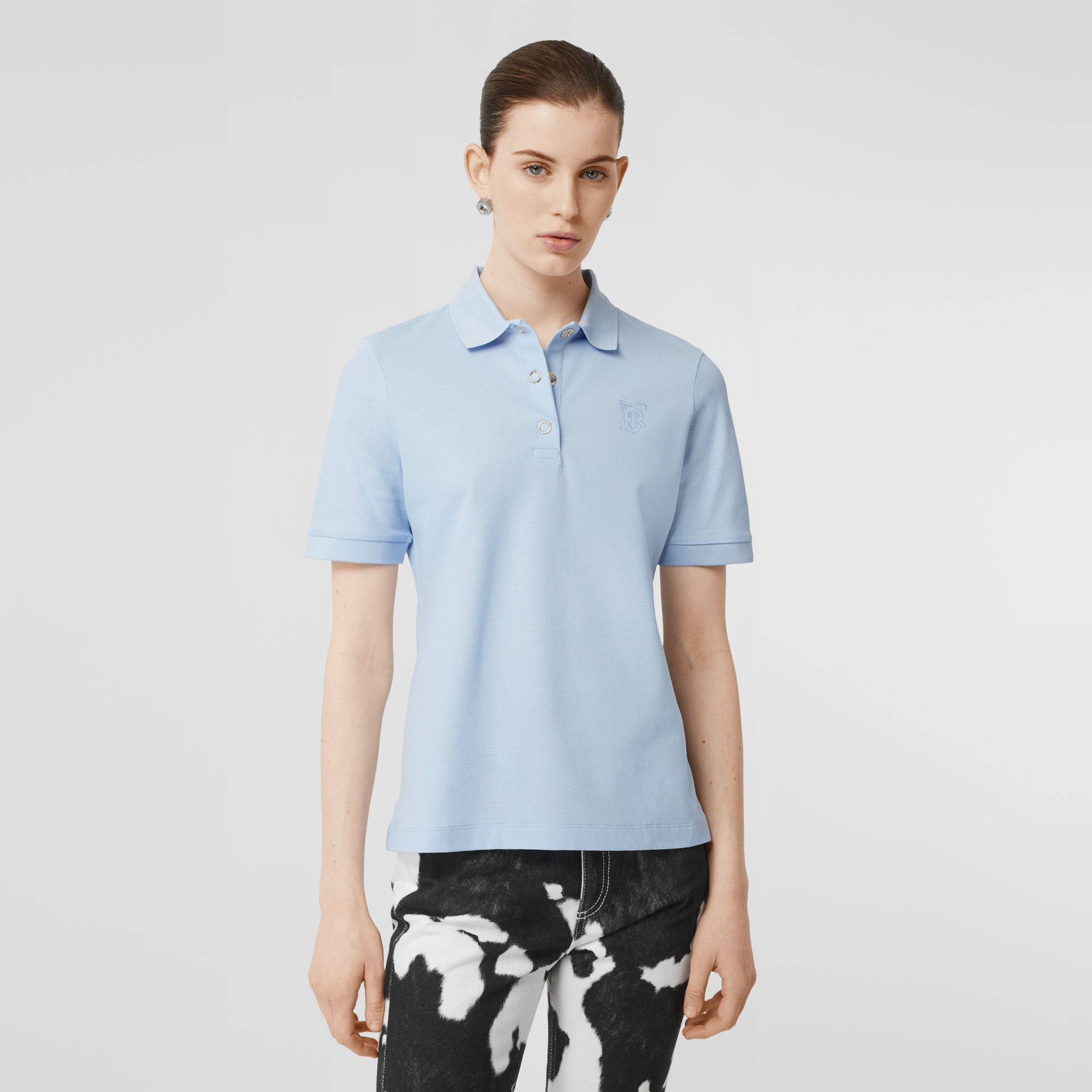 Monogram Motif Cotton Piqué Polo Shirt in Pale Blue - Women | Burberry - gallery image 0