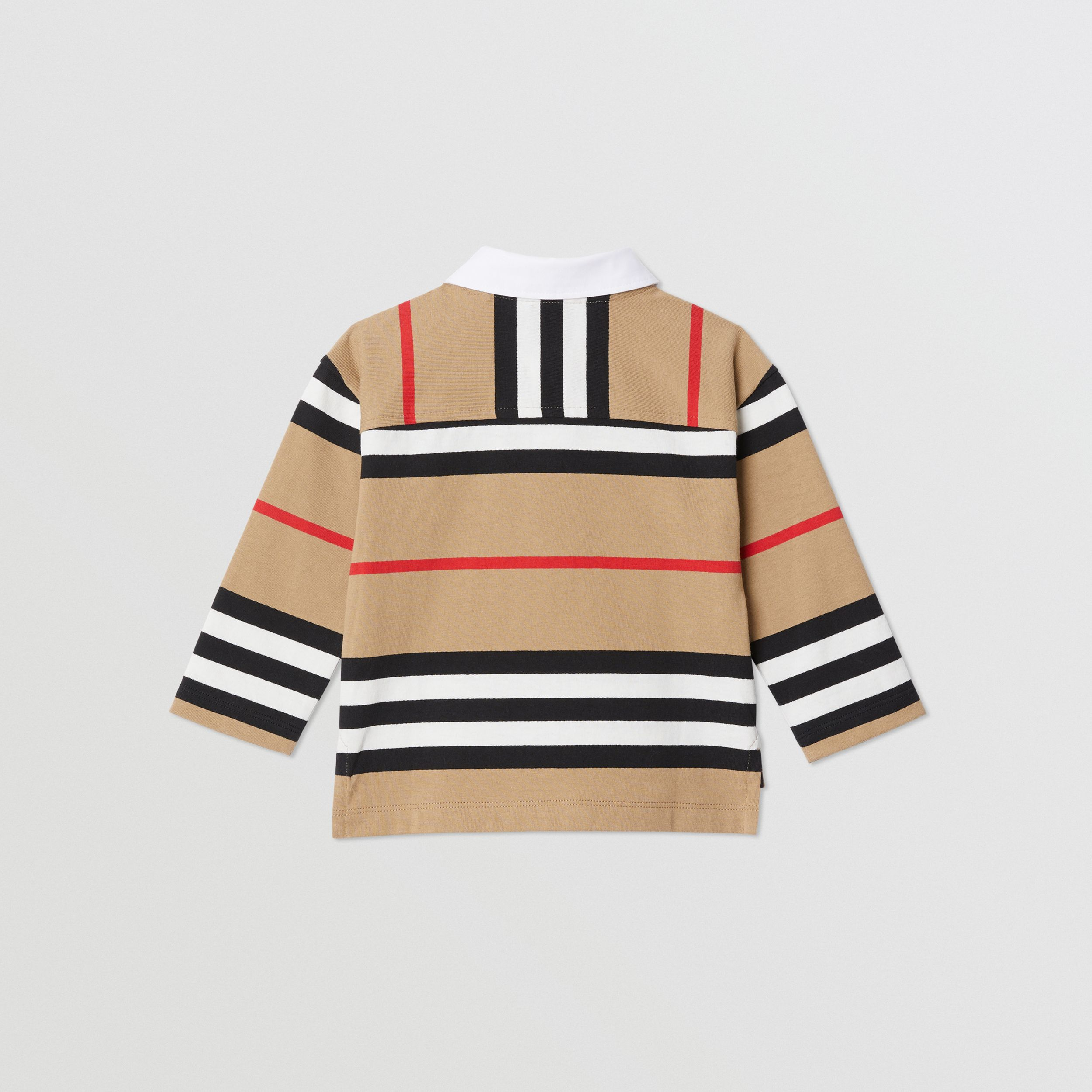 Long-sleeve Icon Stripe Cotton Top in Archive Beige - Children | Burberry - 4